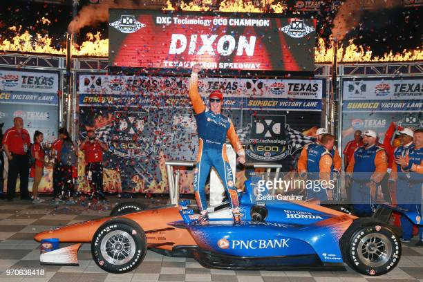 Scott Dixon driver of the PNC Bank Chip Ganassi Racing Honda celebrates in Victory Lane after winning the Verizon IndyCar Series DXC Technology 600...