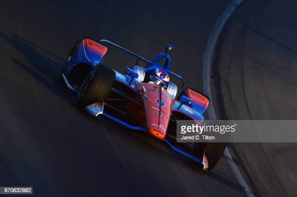 Scott Dixon driver of the PNC Bank Chip Ganassi Racing Honda leads during the Verizon IndyCar Series DXC Technology 600 at Texas Motor Speedway on...