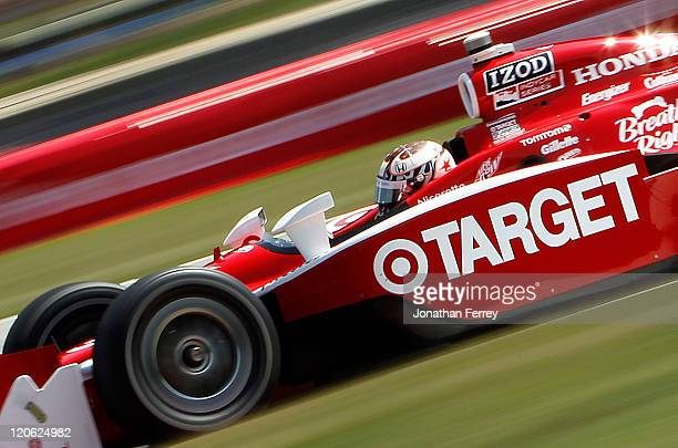 Scott Dixon driver of the Target Chip Ganassi Racing Dallara Honda races during the Honda Indy 200 at the MidOhio Sportscar Course on August 7 2011...