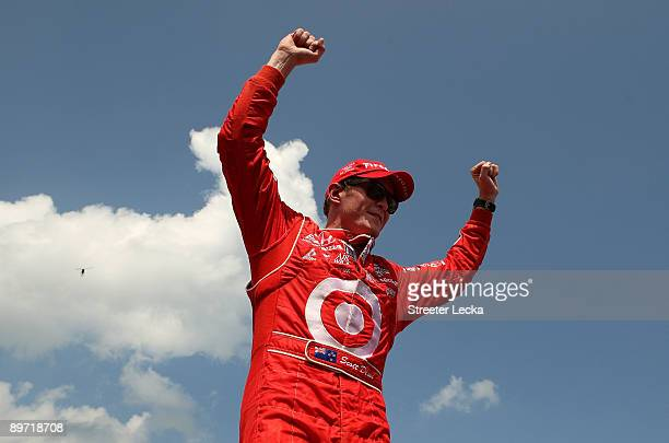 Scott Dixon driver of the Target Chip Ganassi Racing Dallara Honda celebrates after winning the IRL IndyCar Series The Honda Indy 200 at the MidOhio...