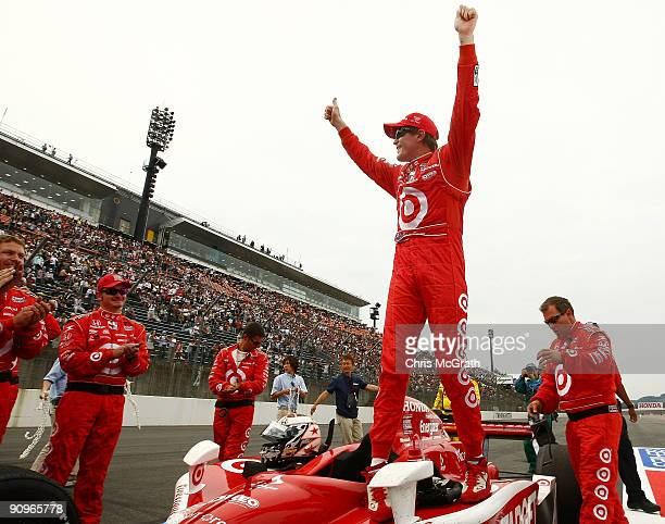 Scott Dixon driver of the Target Chip Ganassi Racing Dallara Honda celebrates victory during the IndyCar Series Bridgestone Indy Japan 300 Mile on...