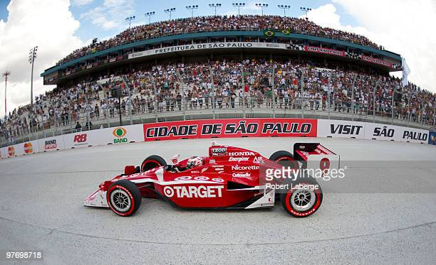 Scott Dixon driver of the Target Chip Ganassi Racing Dallara Honda during the IZOD IndyCar Series Sao Paulo Indy 300 on March 14 2010 in the streets...