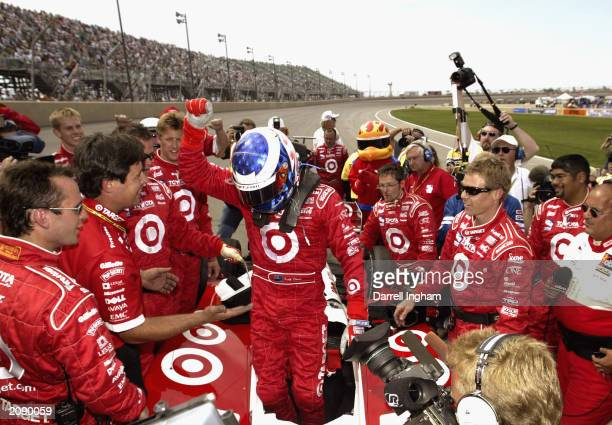 Scott Dixon emerges from the Target Chip Ganassi Racing Toyota GForce after winning the IRL IndyCar Series Honda Indy 225 at the Pikes Peak...