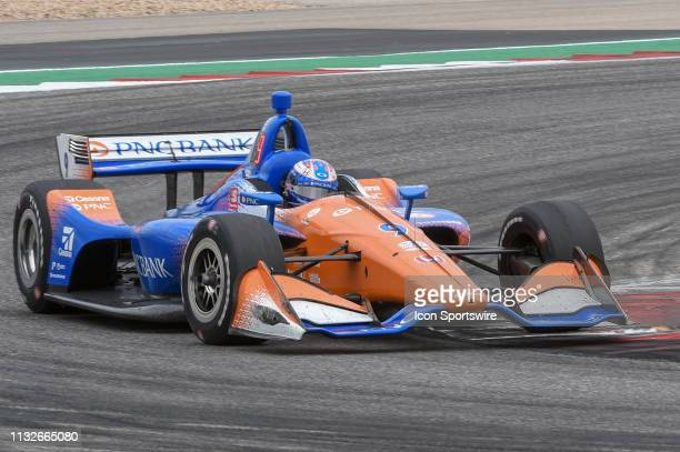 Scott Dixon of Chip Ganassi Racing driving a Honda makes his way through turn 12 during the IndyCar Classic at Circuit of the Americas on March 24...
