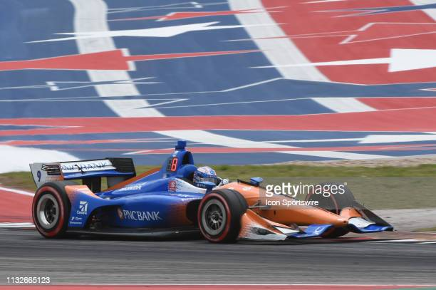 Scott Dixon of Chip Ganassi Racing driving a Honda makes his way through turn 18 during the IndyCar Classic at Circuit of the Americas on March 24...