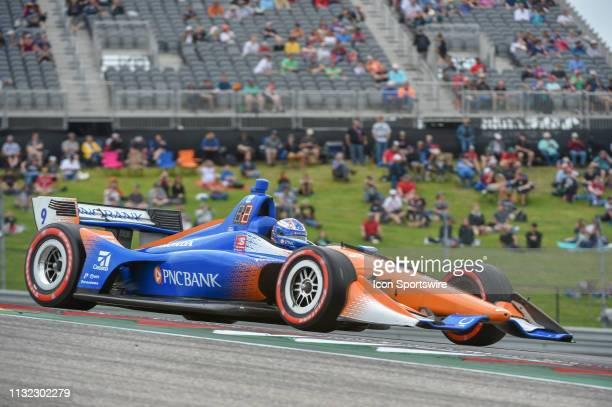 Scott Dixon of Chip Ganassi Racing driving a Honda races out of turn 1 during the IndyCar afternoon qualifications at Circuit of the Americas on...