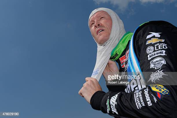 Scott Dixon of New Zealand driver of the Energizer Chevrolet prepares to drive in NTT DATA qualifying for the Verizon IndyCar Series Firestone 600 at...