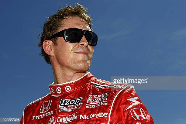 Scott Dixon of New Zealand driver of the Target Chip Ganassi Racing Dallara Honda during practice for the IRL Indycar Series Iowa Corn Indy 250 on...