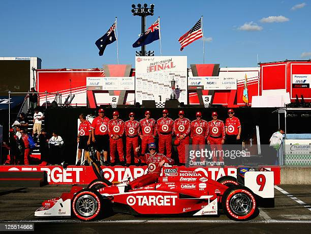Scott Dixon of New Zealand driver of the Target Chip Ganassi Racing Dallara Honda celebrates winning the Indy Japan 300 The Final on the road course...