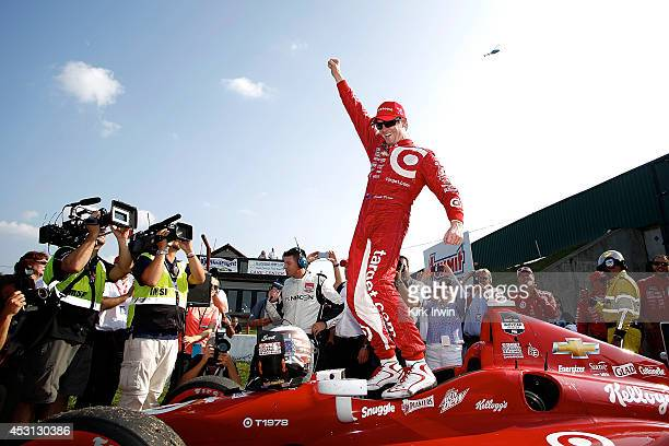 Scott Dixon of New Zealand driver of the Target Chip Ganassi Racing Dallara Chevrolet celebrates after winning the Verizon IndyCar Series Honda Indy...