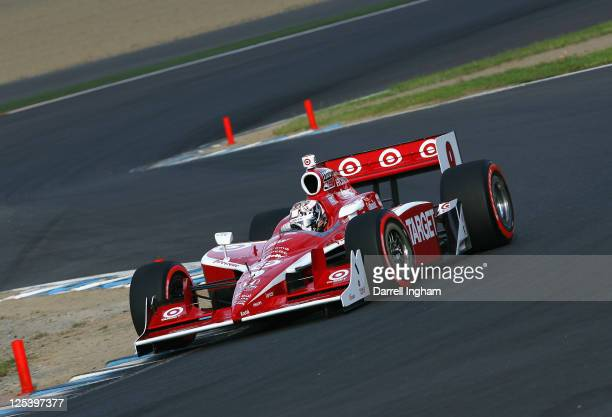 Scott Dixon of New Zealand drives the Target Chip Ganassi Racing Dallara Honda during practice for the Indy Japan 300 The Final on the road course at...