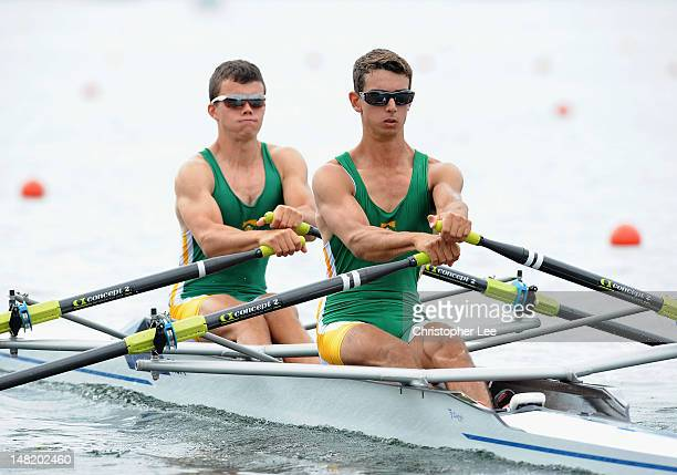 Scott Donaldson and James Buchanan of South Africa in the Lightweight Mens Double Sculls Heat during Day 2 of the 2012 FISA World Rowing U23...