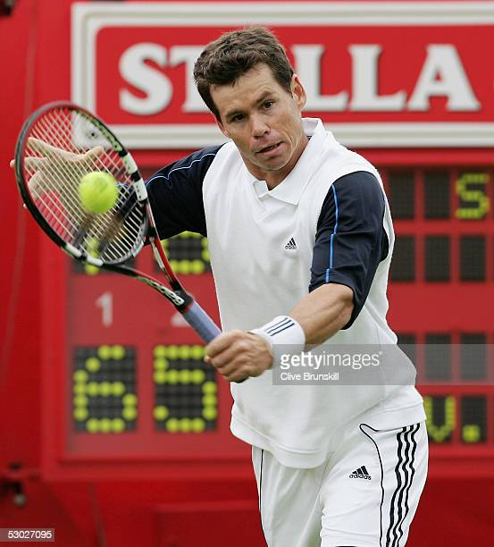 Scott Draper of Australia returns a backhand during his first round match against Victor Hanescu of Romania at the Stella Artois Tennis Championships...