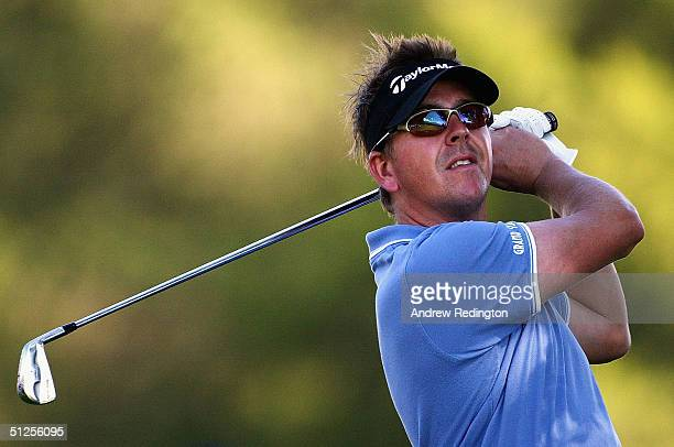 Scott Drummond of Scotland tees off on the 11th hole during the first round of The Omega European Masters at CransSurSierre Golf Club on September 2...