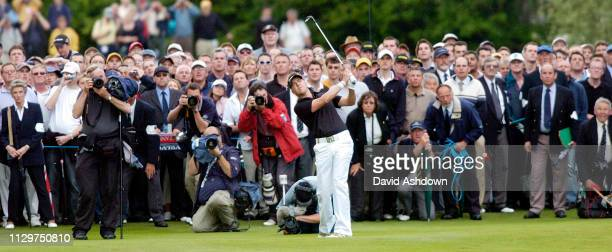 Scott Drummond plays his shot to the 18th before winning the PGA at the the Golf Voilvo PGA championship last day at Wentworth GC in England 30th May...