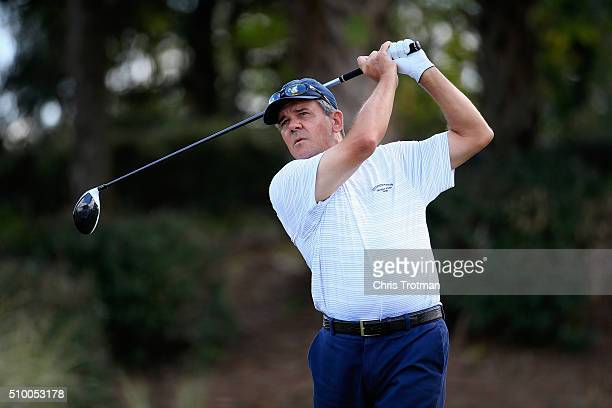 Scott Dunlap hits a tee shot on the 7th hole during the second round of the 2016 Chubb Classic at the TwinEagles Club on February 13 2016 in Naples...