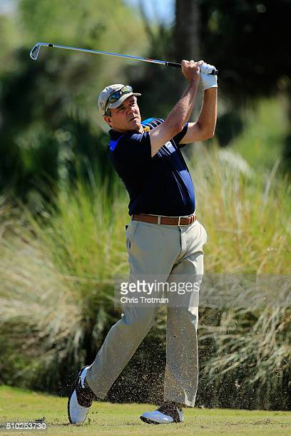 Scott Dunlap hits a tee shot on the second hole during the final round of the 2016 Chubb Classic at the TwinEagles Club on February 14 2016 in Naples...