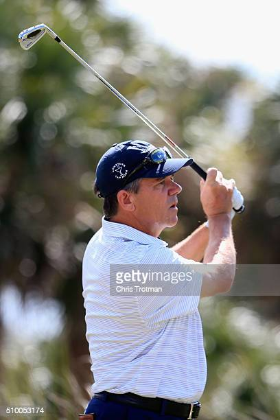 Scott Dunlap hits a tee shot on the second hole during the second round of the 2016 Chubb Classic at the TwinEagles Club on February 13 2016 in...