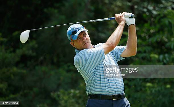Scott Dunlap hits his tee shot on the fifth hole during the final round of the Insperity Invitational at The Woodlands CC on May 3 2015 in The...