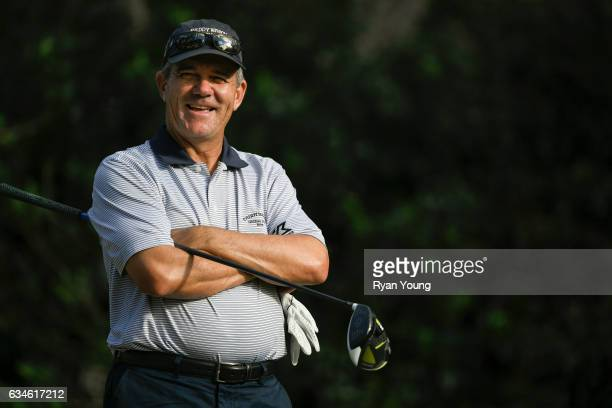 Scott Dunlap laughs while he waits to tee off on the 18th hole during the first round of the PGA TOUR Champions Allianz Championship at The Old...