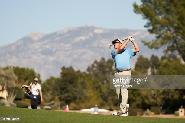 Scott Dunlap of the United States plays his second shot at the ninth hole during the first round of the 2018 Cologuard Classic at Omni Tucson...