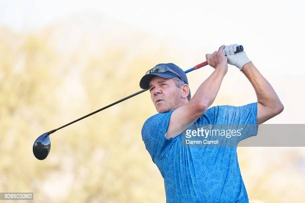 Scott Dunlap of the United States plays his tee shot at the 18th hole during the second round of the 2018 Cologuard Classic at Omni Tucson National...