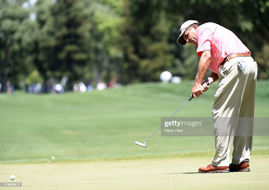 Scott Dunlap of the United States putts on the eighth green during round three of the U.S. Senior Open Championship at the Del Paso Country Club on June 27, 2015 in Sacramento, California.