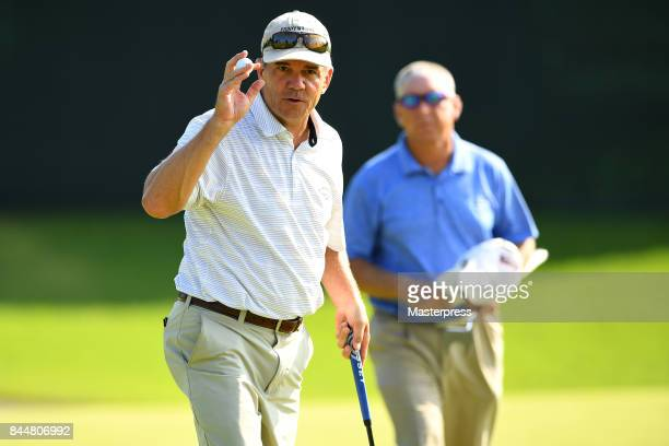 Scott Dunlap of the United States reacts during the second round of the Japan Airlines Championship at Narita Golf ClubAccordia Golf on September 9...