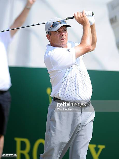 Scott Dunlap of the United States tees off on the 11th hole during the third round of the Senior Open Championship at Royal Porthcawl Golf Club on...
