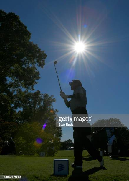 Scott Dunlap plays a tee shot on the 13th hole during the final round of the PGA TOUR Champions Dominion Energy Charity Classic at The Country Club...