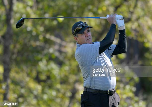 Scott Dunlap plays a tee shot on the sixth hole during the final round of the PGA TOUR Champions Dominion Energy Charity Classic at The Country Club...