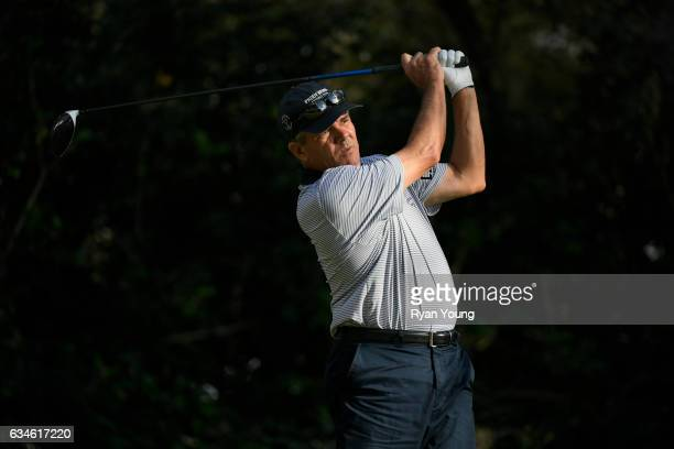 Scott Dunlap tees off on the 18th hole during the first round of the PGA TOUR Champions Allianz Championship at The Old Course at Broken Sound on...