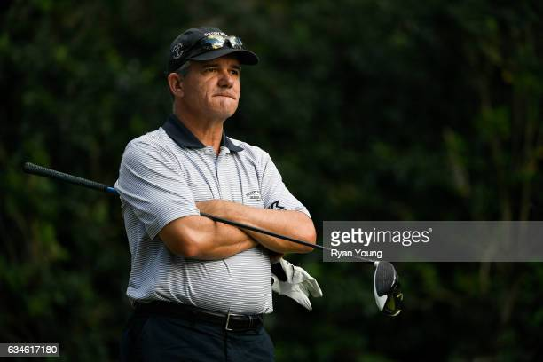 Scott Dunlap waits to tee off on the 18th hole during the first round of the PGA TOUR Champions Allianz Championship at The Old Course at Broken...