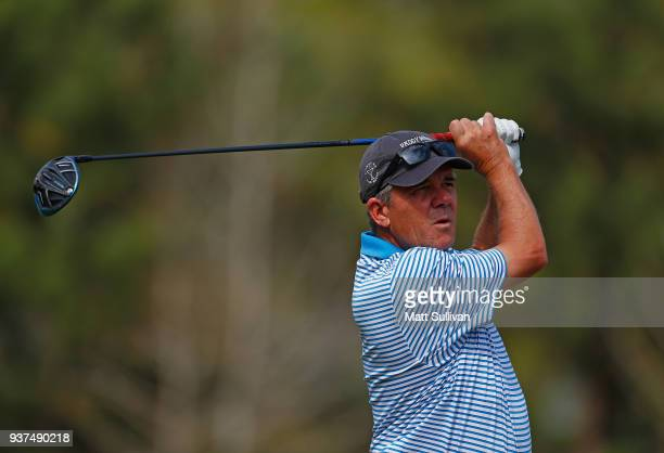 Scott Dunlap watches his tee shot on the 18th hole during the second round of the Rapiscan Systems Classic at Fallen Oak Golf Course on March 24 2018...