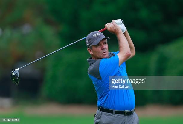 Scott Dunlap watches his tee shot on the fourth hole during the first round of the SAS Championship at Prestonwood Country Club on October 13 2017 in...