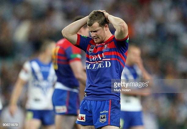 Scott Dureau of the Knights looks dejected after the third NRL qualifying final match between the Bulldogs and the Newcastle Knights at ANZ Stadium...