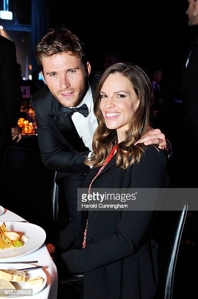Scott Eastwood and Hilary Swank attend the IWC 'Come Fly With Us' Gala Dinner during the launch of the Pilot's Watches Novelties from the Swiss...