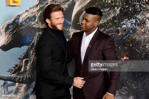 Scott Eastwood and John Boyega attend a special screening of 'Pacific Rim Uprising' at Vue West End on March 15 2018 in London England