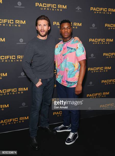 Scott Eastwood and John Boyega attend the Pacific Rim Uprising fan event at Event Cinemas George Street on February 28 2018 in Sydney Australia