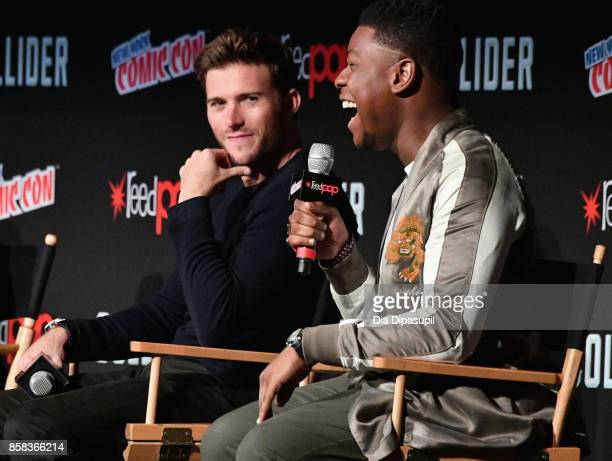 Scott Eastwood and John Boyega speak onstage during the Pacific Rim Uprising panel at 2017 New York Comic Con on October 6 2017 in New York City