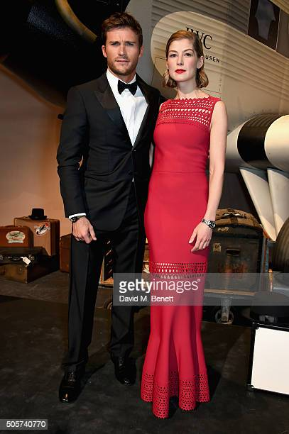 """Scott Eastwood and Rosamund Pike attend the IWC """"Come Fly With Us"""" Gala Dinner during the launch of the Pilot's Watches Novelties from the Swiss..."""