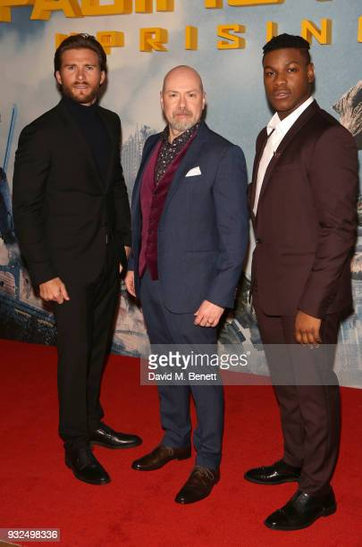 Scott Eastwood Steven S DeKnight and John Boyega attend a special screening of 'Pacific Rim Uprising' at Vue West End on March 15 2018 in London...