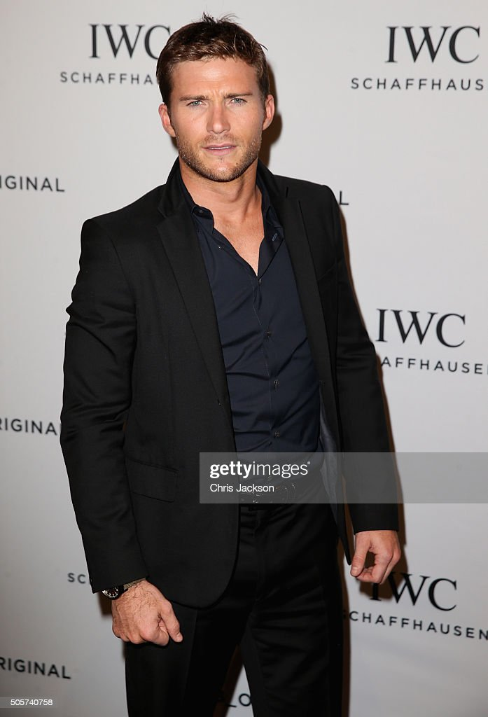 Scott Eastwood visits the IWC booth during the launch of the Pilot's Watches Novelties from the Swiss luxury watch manufacturer IWC Schaffhausen at the Salon International de la Haute Horlogerie (SIHH) 2016 on January 19, 2016 in Geneva, Switzerland.