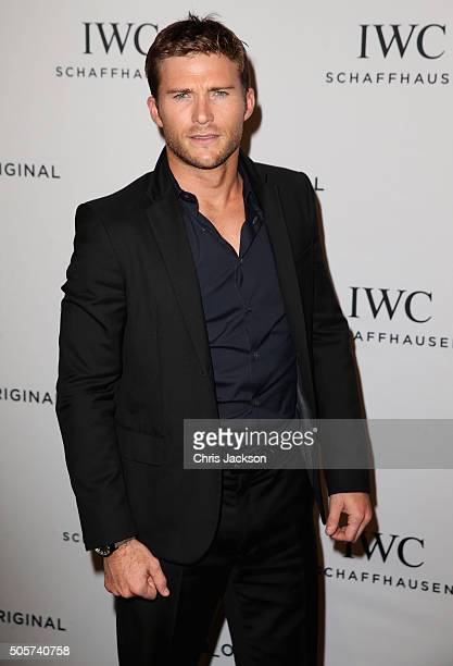 Scott Eastwood visits the IWC booth during the launch of the Pilot's Watches Novelties from the Swiss luxury watch manufacturer IWC Schaffhausen at...