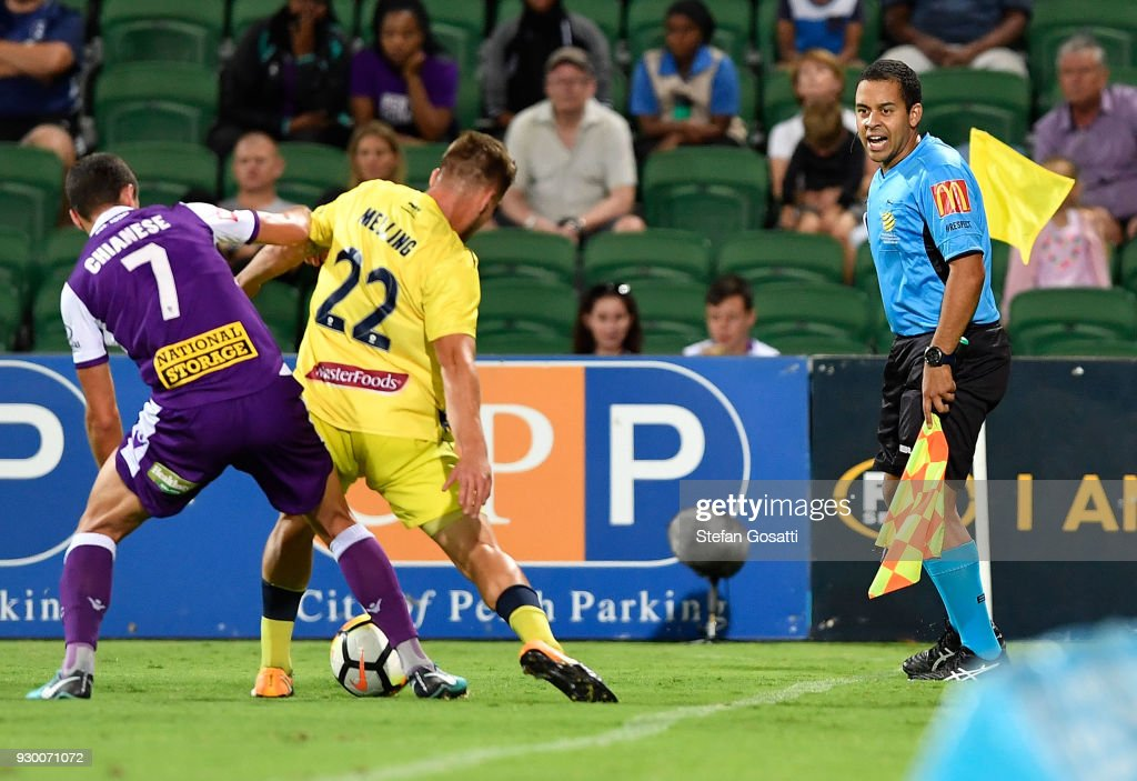 Scott Edeling, assistant referee (R) looks on during the round 22 A-League match between the Perth Glory and the Central Coast Mariners at nib Stadium on March 10, 2018 in Perth, Australia.