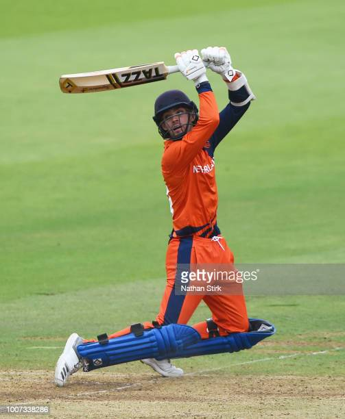 Scott Edwards of Netherlands batting during the T20 Triangular Tournament match between Netherlands and Nepal at Lords on July 29 2018 in London...