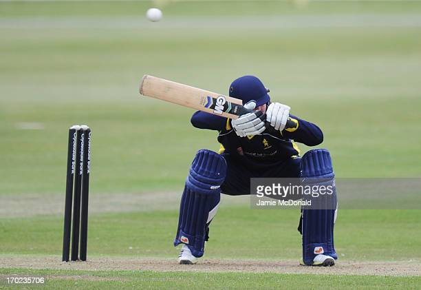 Scott Elstone of the Unicorns plays the ball during the Yorkshire Bank 40 match between Unicorns and Glamorgan Dragons at Garon Park on June 9 2013...