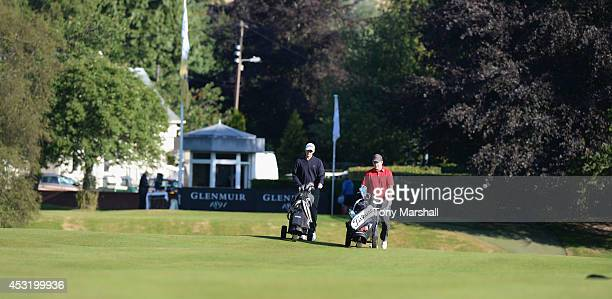 Scott Emery of Woodhall Spa Golf Club and Mark Whelan of Castlewarden Golf and Country Club walk down the1st fairway during day one of the Glenmuir...