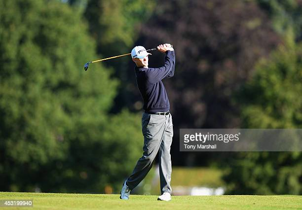 Scott Emery of Woodhall Spa Golf Club plays his second shot on the 1st fairway during day one of the Glenmuir PGA Professional Championship at...