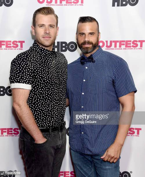Scott Evans and James Lee attend the 2019 Outfest Los Angeles LGBTQ Film Festival Screening Of Sell By at TCL Chinese Theatre on July 20 2019 in...